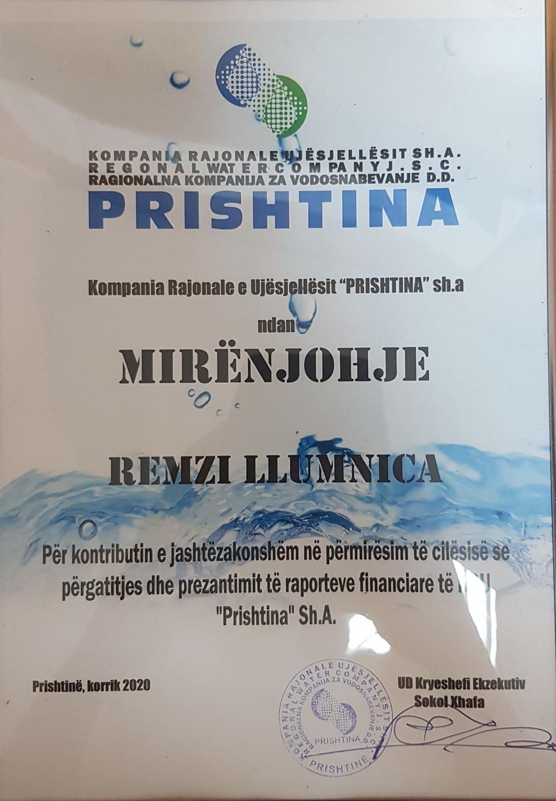 Certifikatë Mirënjohje për z.Llumnica